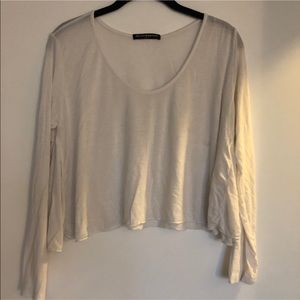 Brandy Melville White Cropped Long Sleeve